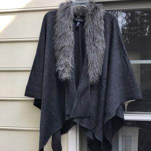 INC Knit Wrap with Faux Fur Trim - 0X/1X